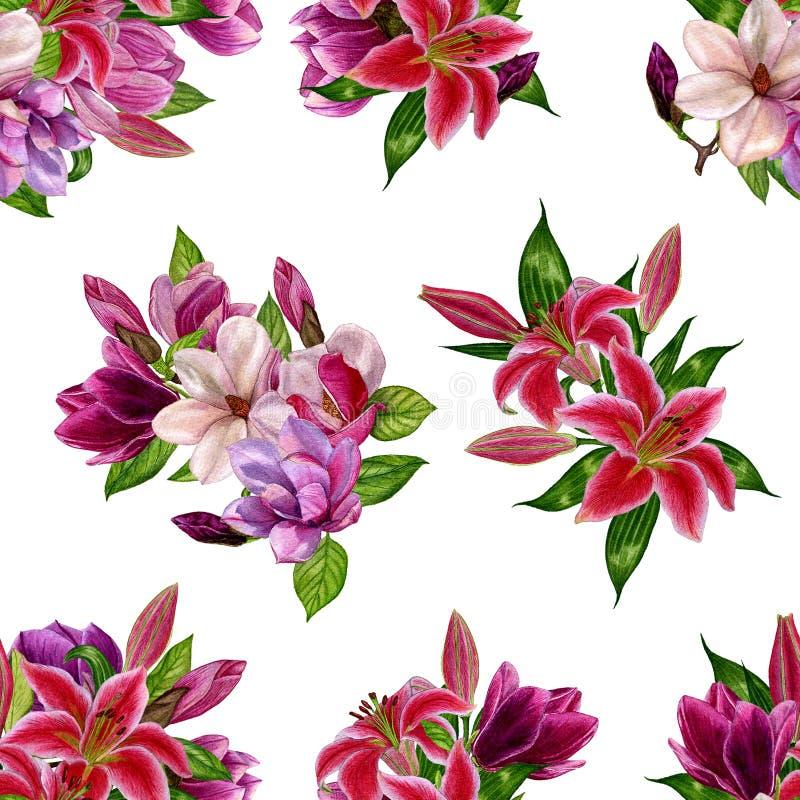 Bezszwowy wzór z bukietami kwiaty na białym tle Akwarela handmade ilustracja wektor