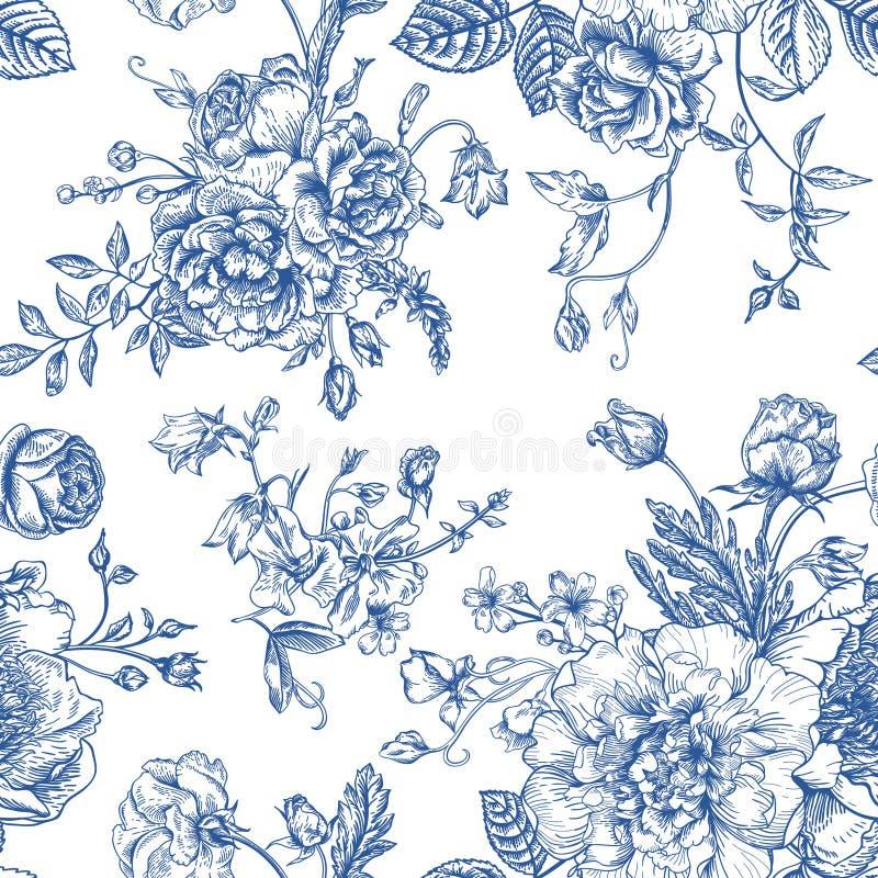 Bezszwowy wzór z bukietem kwiaty ilustracji