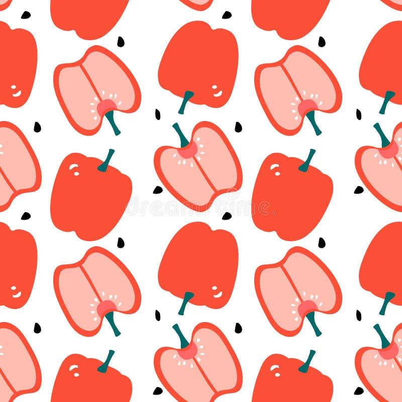 Bezszwowy wzór z capsicum - czerwony dzwonkowy pieprz Nowo?ytny p?aski projekt royalty ilustracja