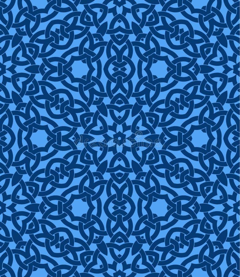 Bezszwowy wzór z celt kępki ornamentem błękitni cienie ilustracja wektor