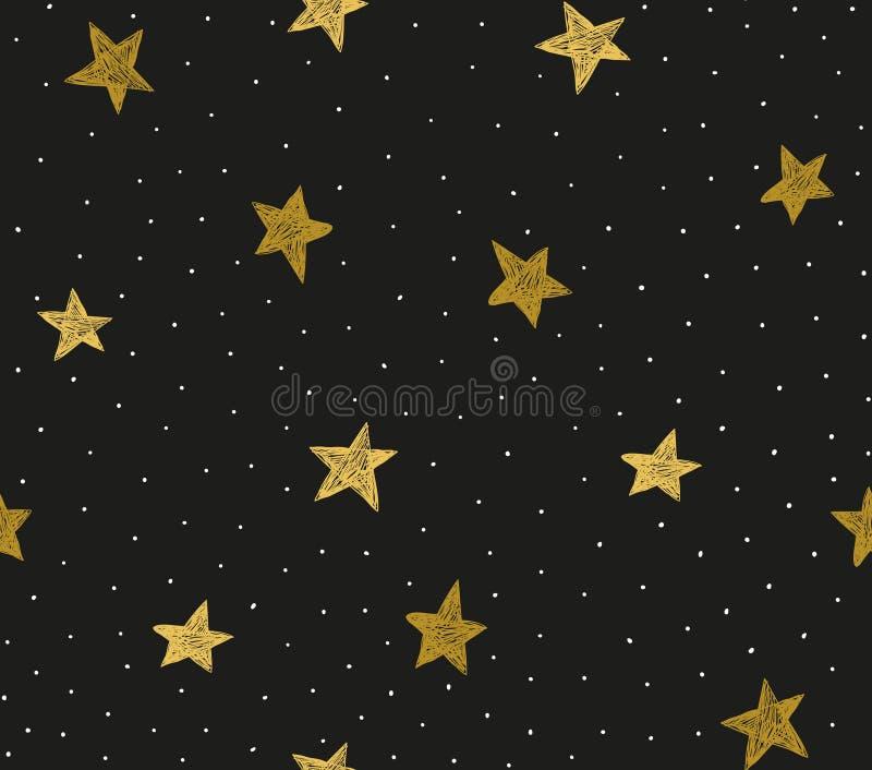 Bezszwowy wzór z chaotycznymi kropkami i gwiazdami royalty ilustracja