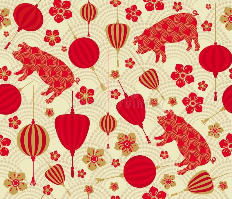 Bezszwowy wzór z Chińskim nowego roku zodiaka 2019 rokiem świniowaty znak z czerwonymi i złocistymi azjatykcimi elementami ilustracja wektor