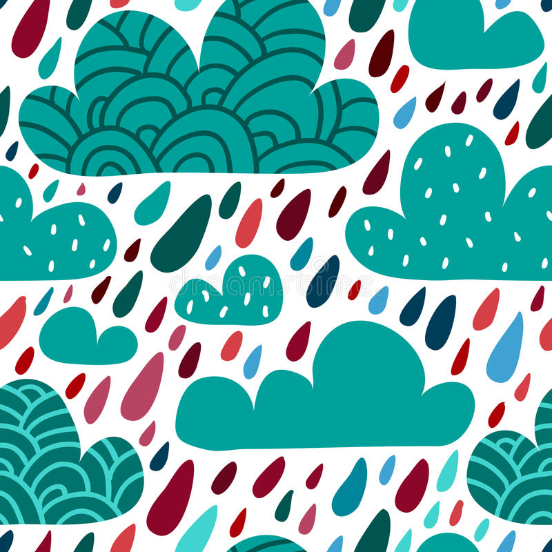 Bezszwowy wzór z chmurami i spada raindrops ilustracja wektor