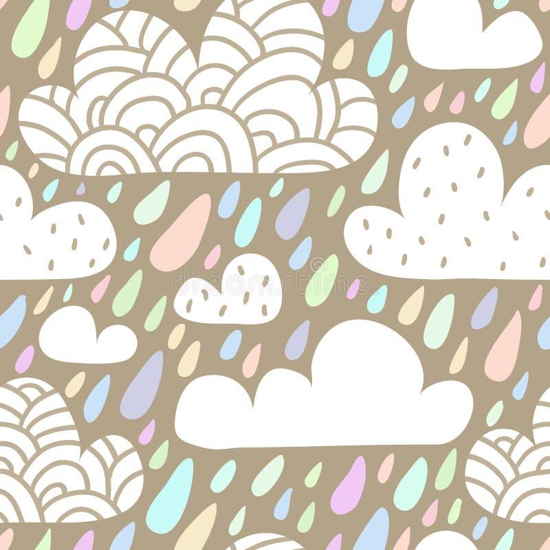 Bezszwowy wzór z chmurami i spada raindrops w pastelowym col ilustracji