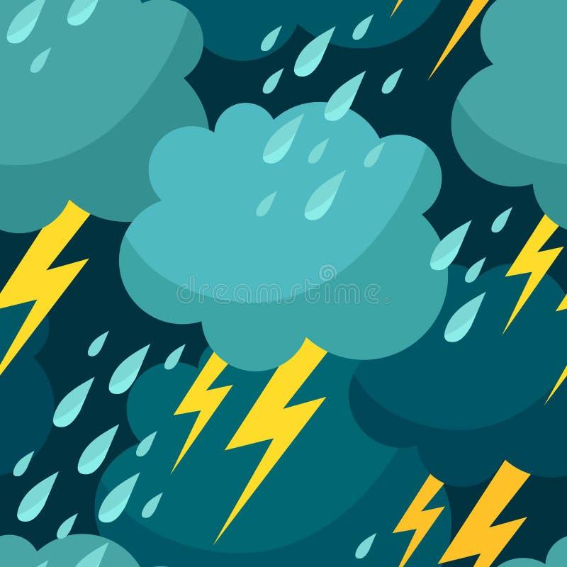 Bezszwowy wzór z chmurami, raindrops i błyskawicami, ilustracja wektor