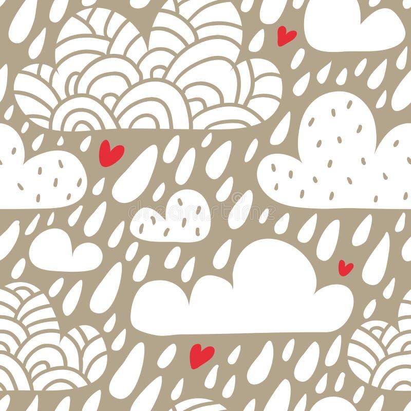 Bezszwowy wzór z chmurami, spada serca i raindrops i ilustracji