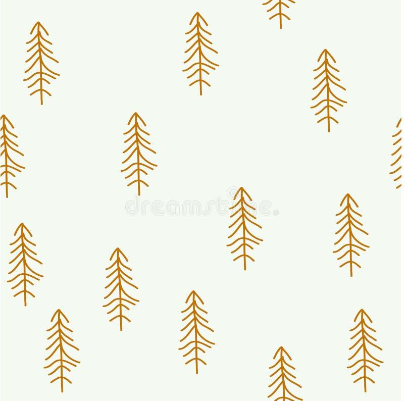 Bezszwowy wzór z choinką Zamarznięty las ilustracji