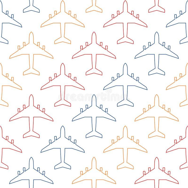 Bezszwowy wzór z colour konturami pasażerski samolot royalty ilustracja