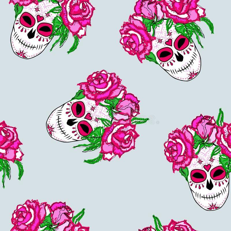 Bezszwowy wzór z cukrową czaszką i różowymi różami ilustracji