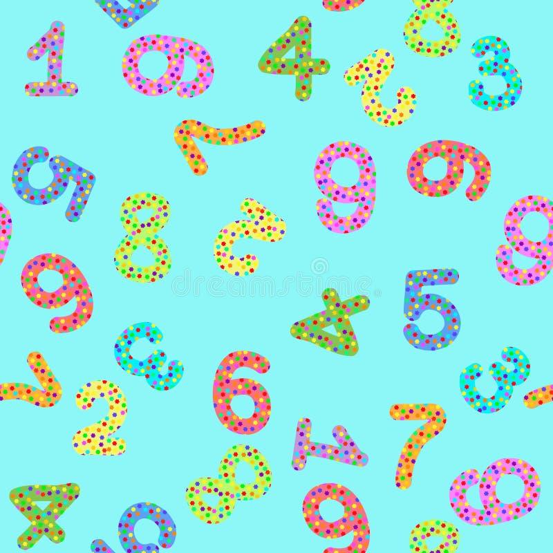 Bezszwowy wzór z cyframi z liczbami ilustracji