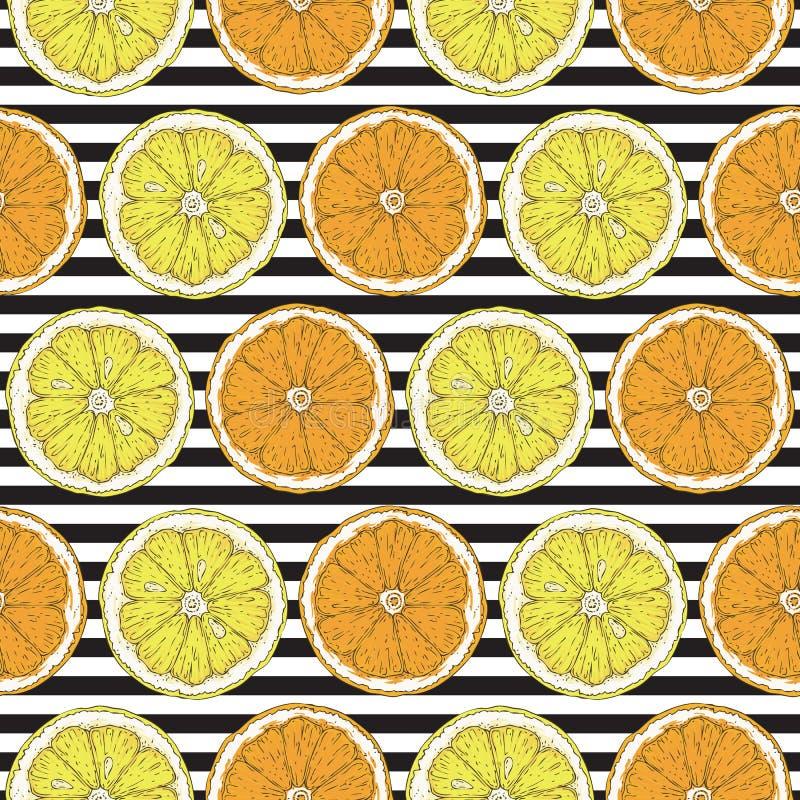 Bezszwowy wzór z cytryny i pomarańcze plasterkami ilustracja wektor