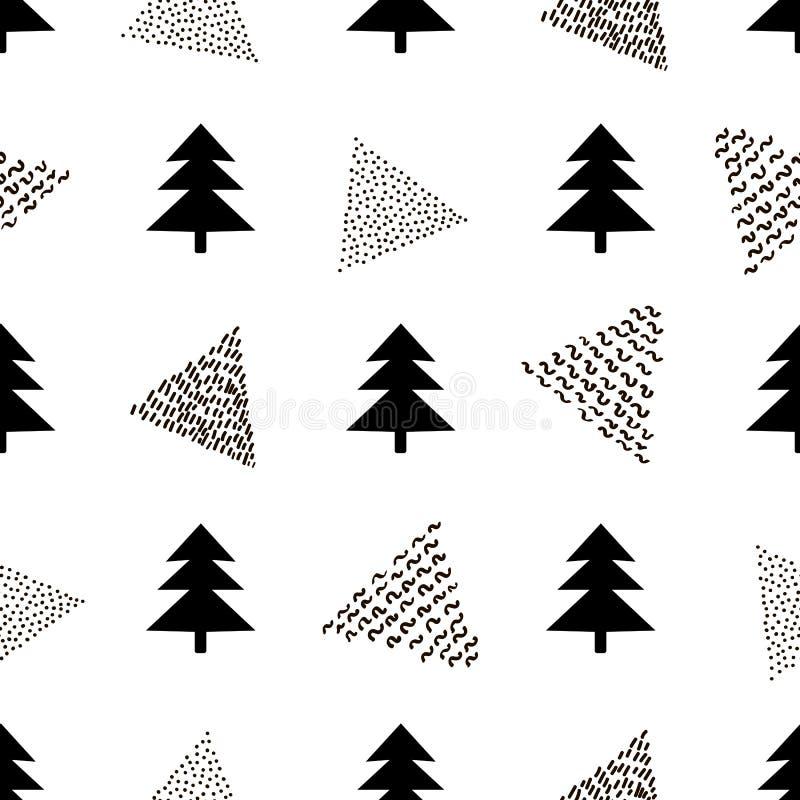 Bezszwowy wzór z czarną jodłą i trójboki na białym backg ilustracji