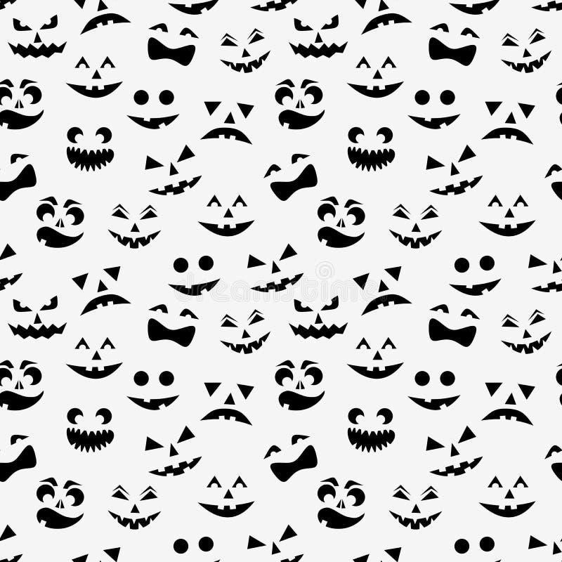 Bezszwowy wzór z czarnymi Halloween baniami rzeźbić stawia czoło sylwetki na białym tle również zwrócić corel ilustracji wektora royalty ilustracja