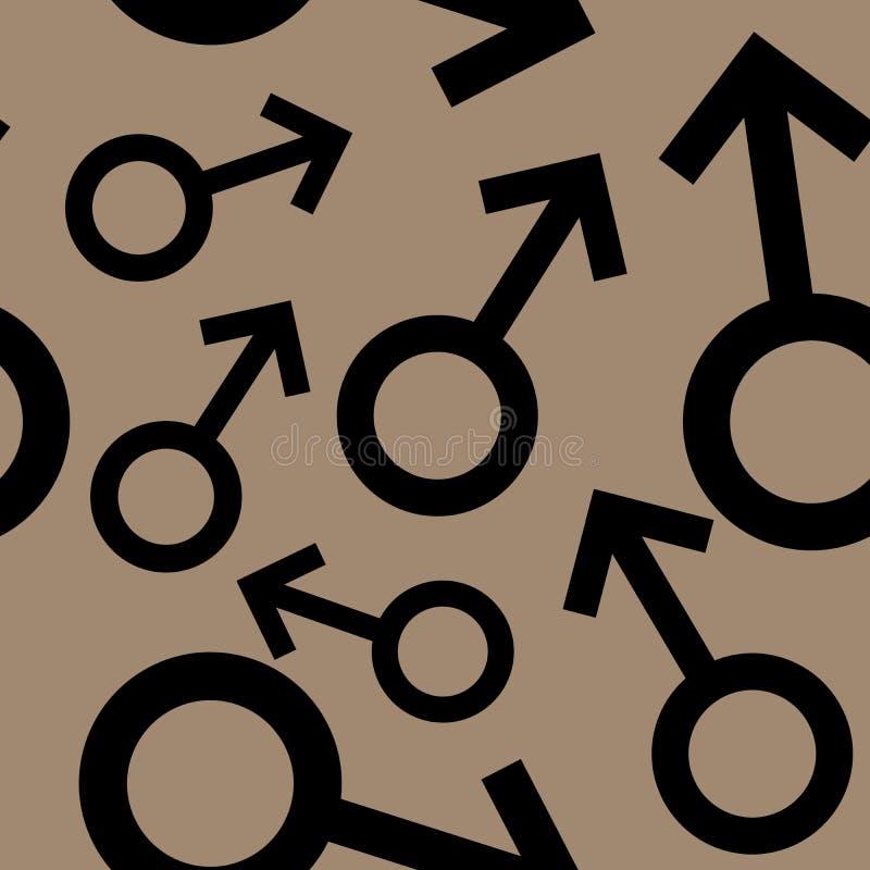 Bezszwowy wzór z czarnymi męskimi symbolami Samiec podpisuje różnych rozmiary tła brąz wzór również zwrócić corel ilustracji wekt royalty ilustracja