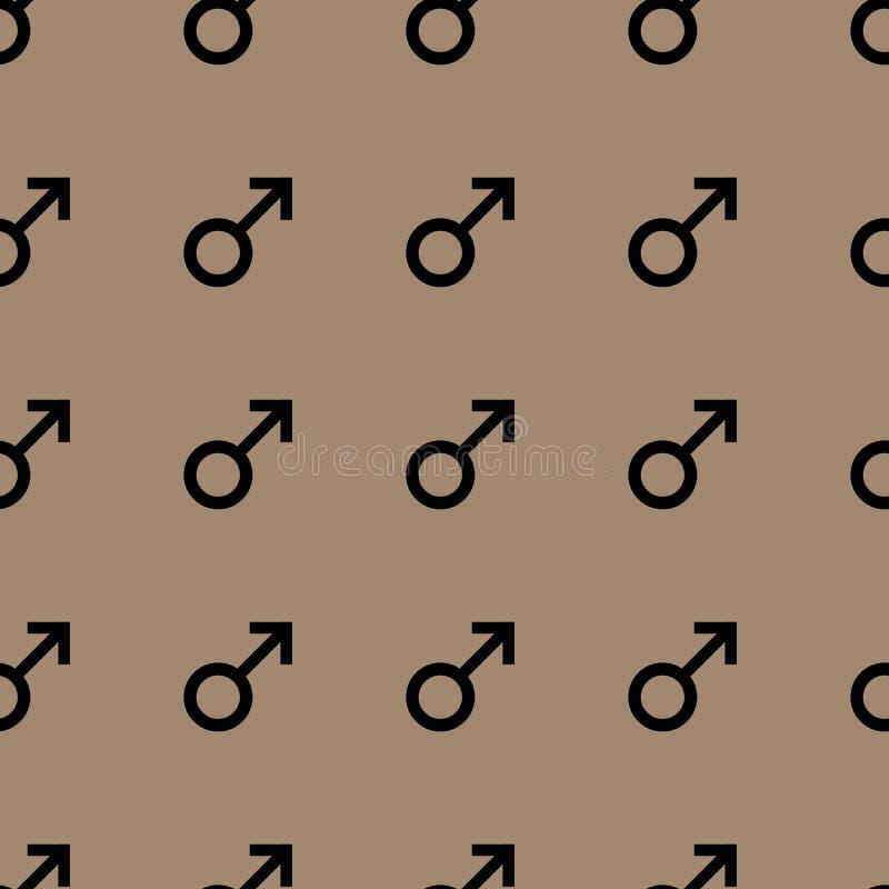 Bezszwowy wzór z czarnymi męskimi symbolami Samiec podpisuje ten sam rozmiar tła brąz wzór również zwrócić corel ilustracji wekto ilustracja wektor