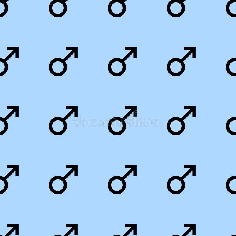 Bezszwowy wzór z czarnymi męskimi symbolami Samiec podpisuje ten sam rozmiar Wzór na błękitnym tle również zwrócić corel ilustrac ilustracja wektor