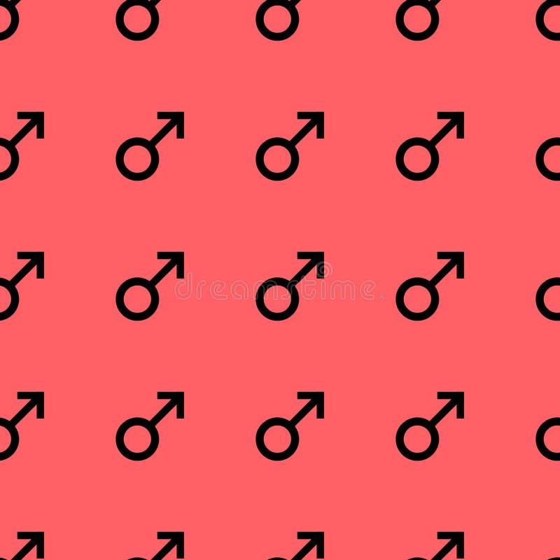 Bezszwowy wzór z czarnymi męskimi symbolami Samiec podpisuje ten sam rozmiar wzór na czerwonym tle również zwrócić corel ilustrac ilustracji