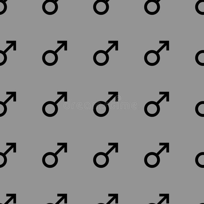 Bezszwowy wzór z czarnymi męskimi symbolami Samiec podpisuje ten sam rozmiar Wzór na szarym tle również zwrócić corel ilustracji  ilustracja wektor