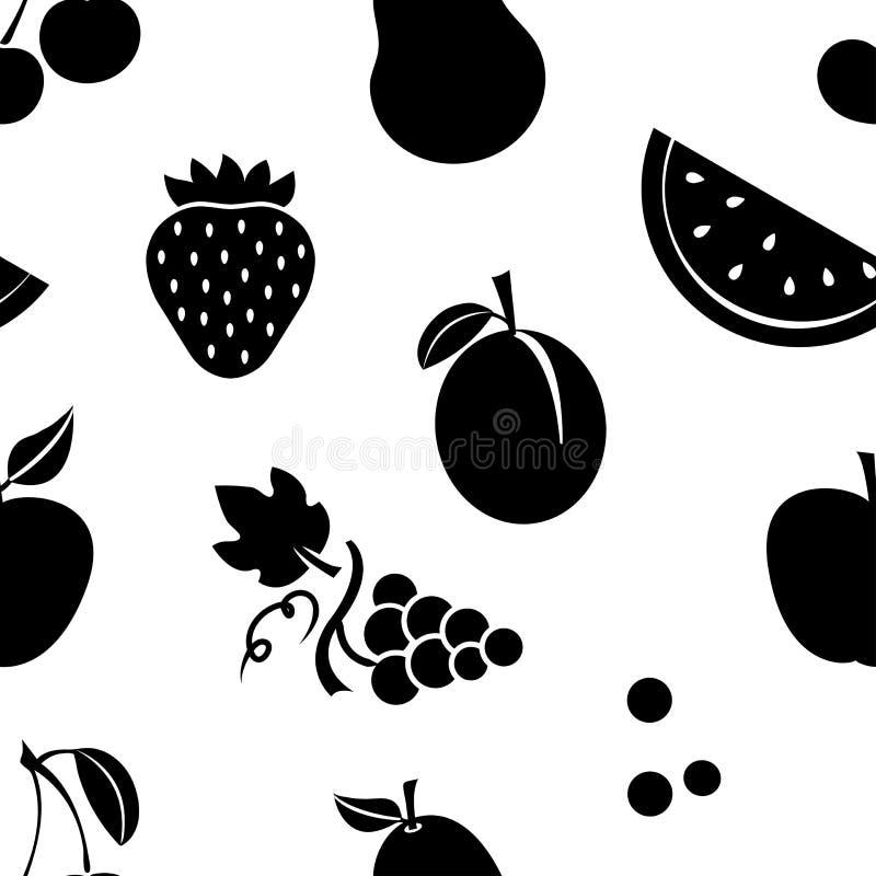 Bezszwowy wzór z czarnymi owoc również zwrócić corel ilustracji wektora royalty ilustracja