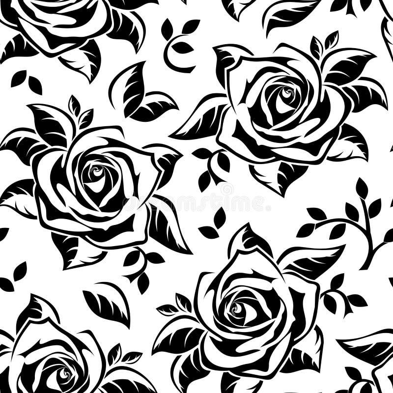 Bezszwowy wzór z czarnymi sylwetkami róże.