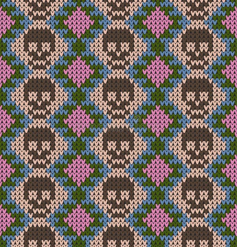 Bezszwowy wzór z czaszką i etnicznymi meksykańskimi elementami Dzień nieboszczyk, tradycyjny wakacje w Meksyk dla pocztówki ilustracja wektor