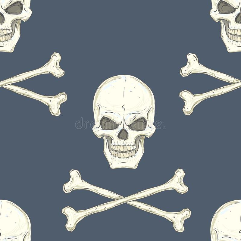 Bezszwowy wzór z czaszkami ilustracji