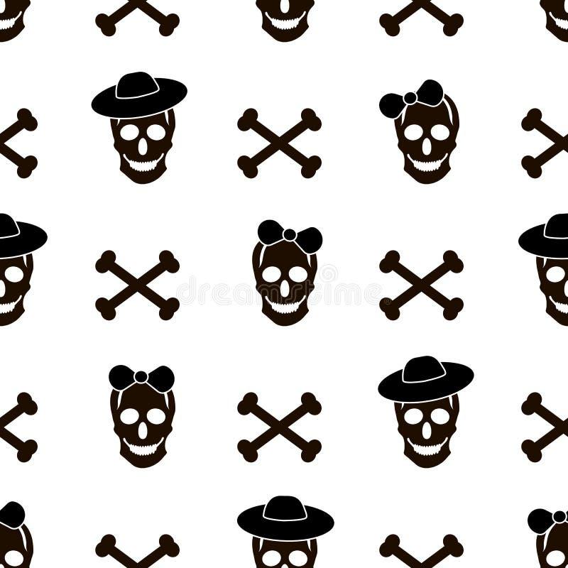 Bezszwowy wzór z czaszkami, kościami i sercami na whit czarnymi, royalty ilustracja