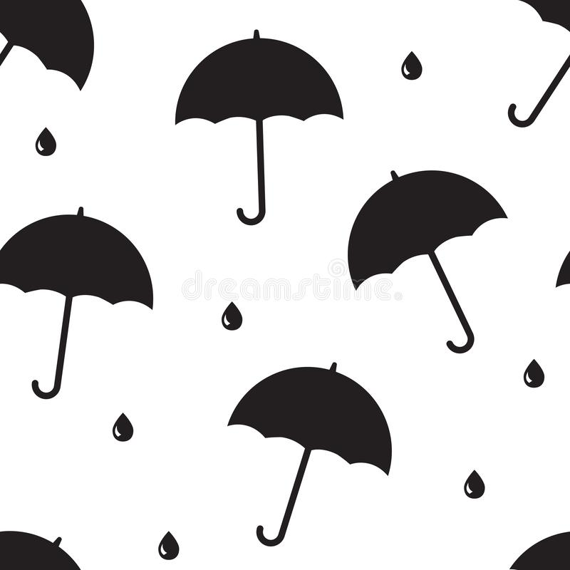 Bezszwowy wzór z czerń otwartym parasolem i kropla padamy r?wnie? zwr?ci? corel ilustracji wektora royalty ilustracja