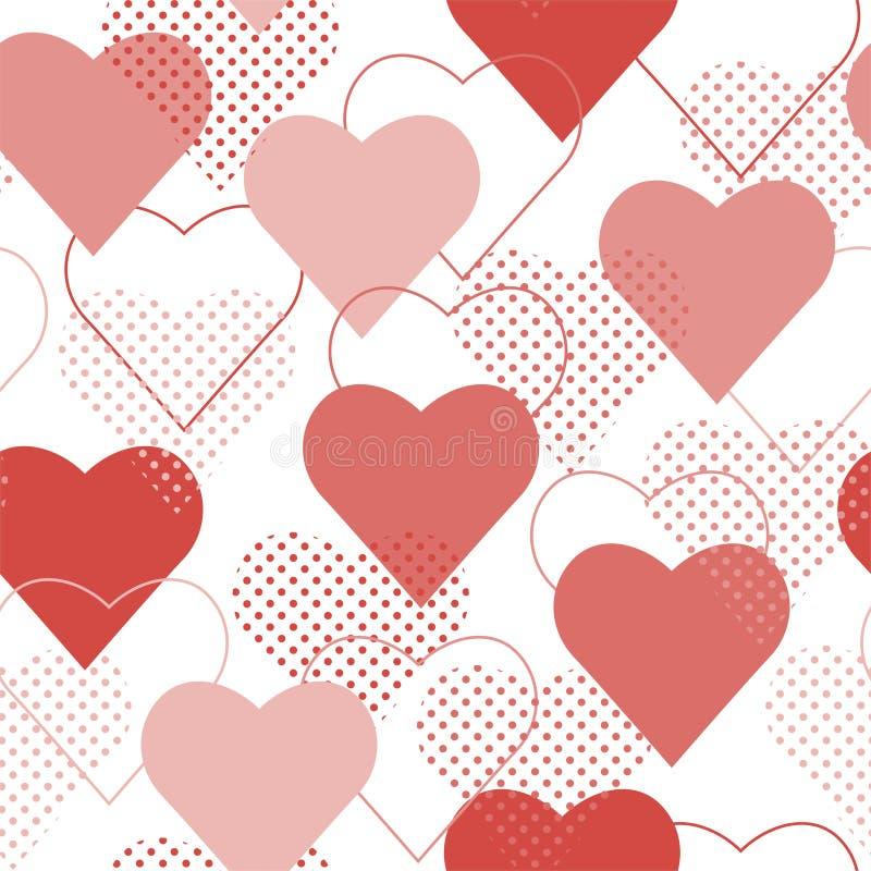 Bezszwowy wzór z czerwieni i menchii polki kropki sercami wektor royalty ilustracja