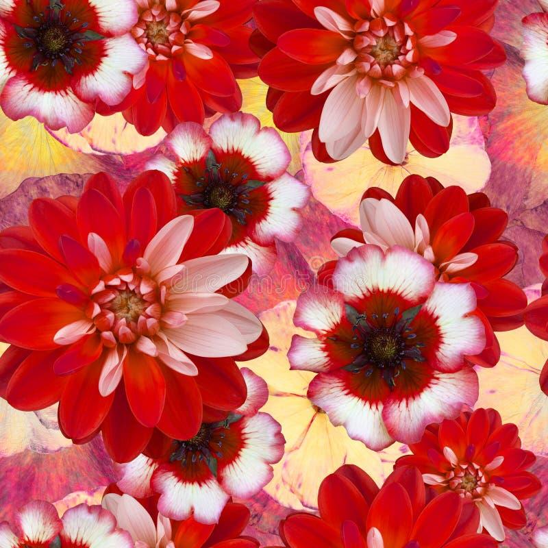 Bezszwowy wzór z czerwoną dalią kwitnie na zamazanym kwiecistym tle Stary rocznika stylu kolaż ilustracja wektor