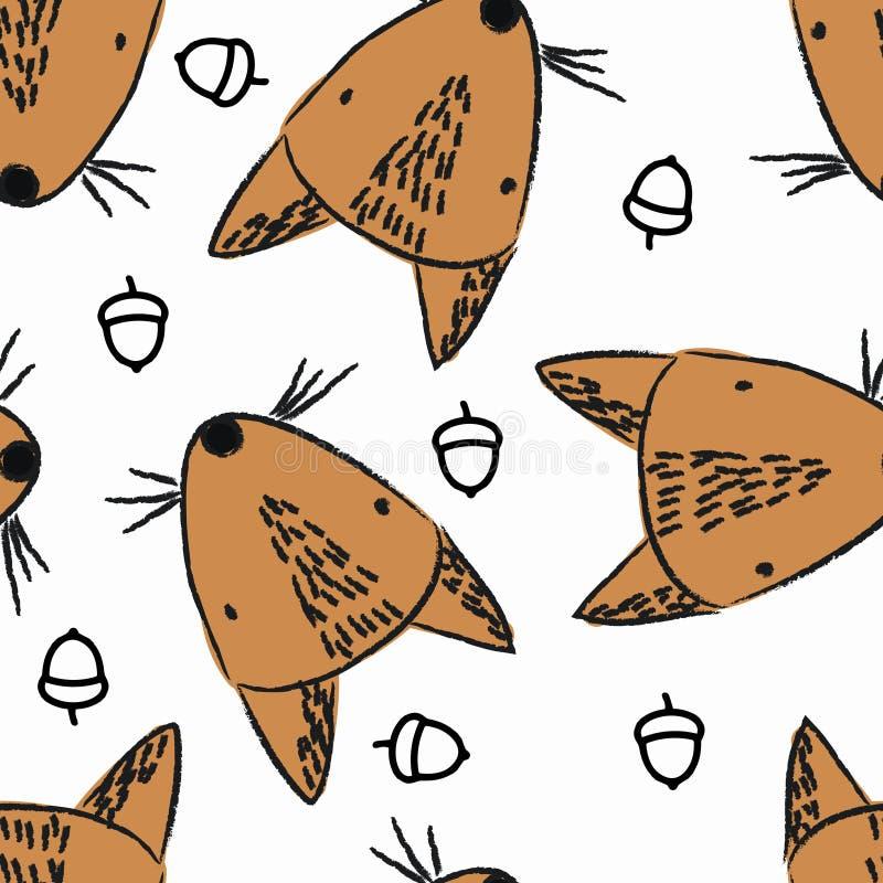 Bezszwowy wzór z czerwoną wiewiórką ilustracji
