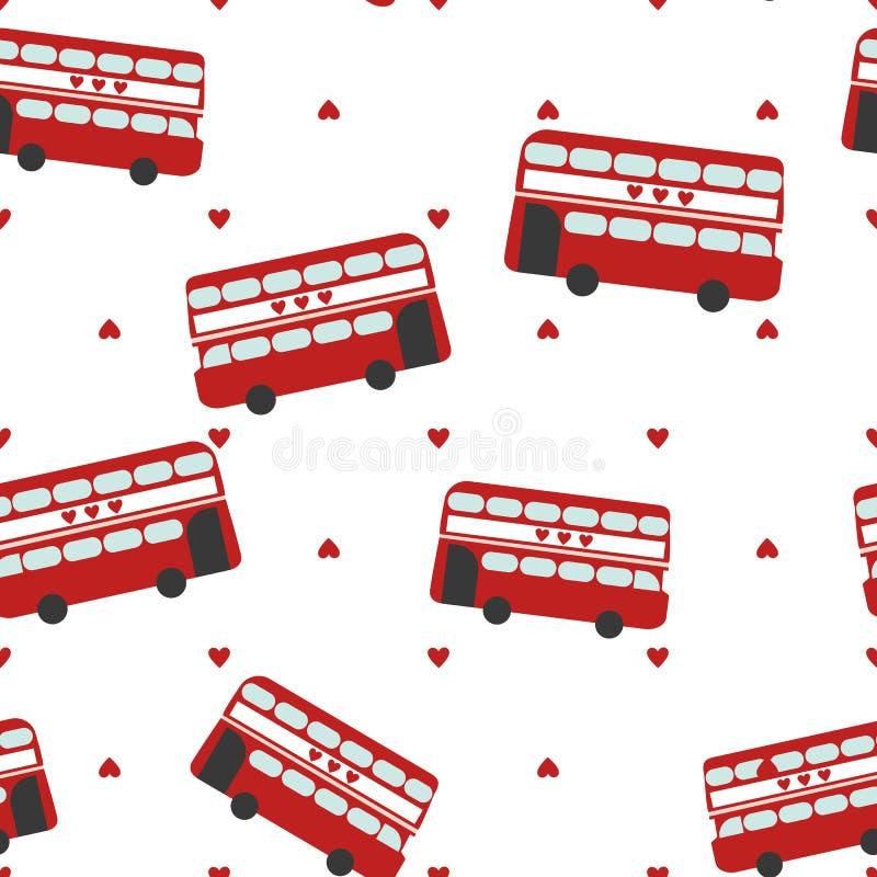 Bezszwowy wzór z czerwonym autobusem zdjęcia royalty free