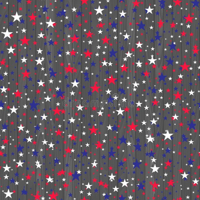 Bezszwowy wzór z czerwonymi błękitnych i bielu gwiazdami wektor royalty ilustracja