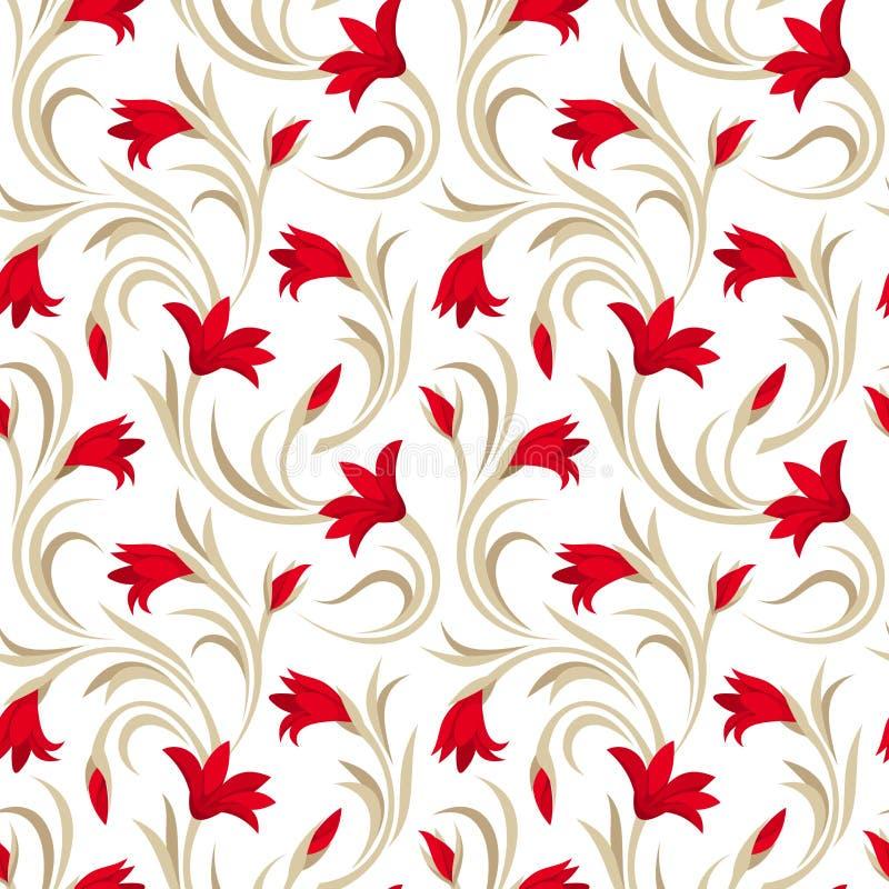 Bezszwowy wzór z czerwonymi gladiolusów kwiatami. ilustracja wektor