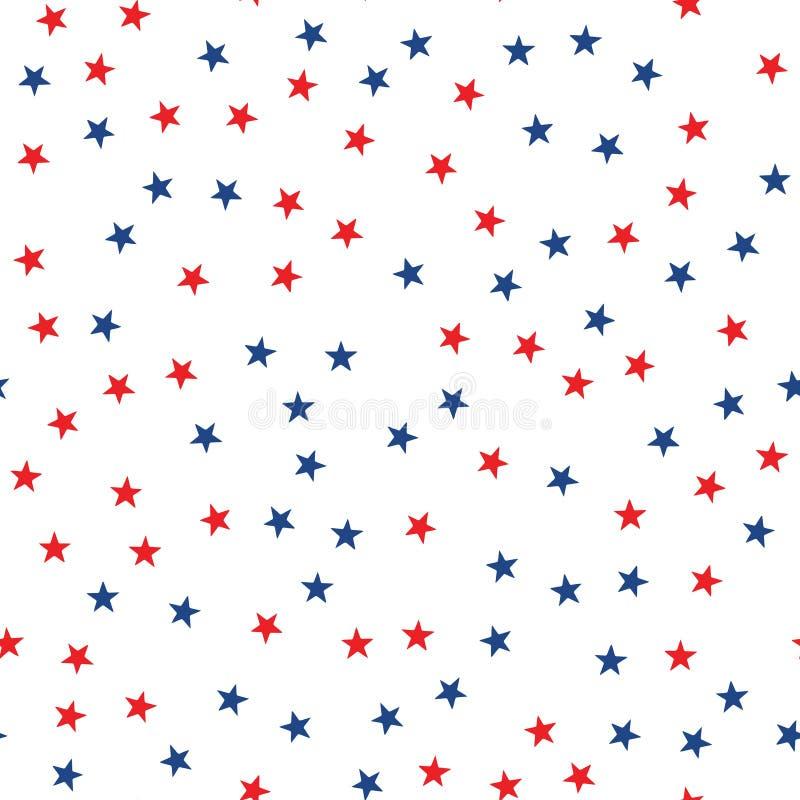 Bezszwowy wzór z czerwonymi i błękitnymi gwiazdami wektor ilustracji