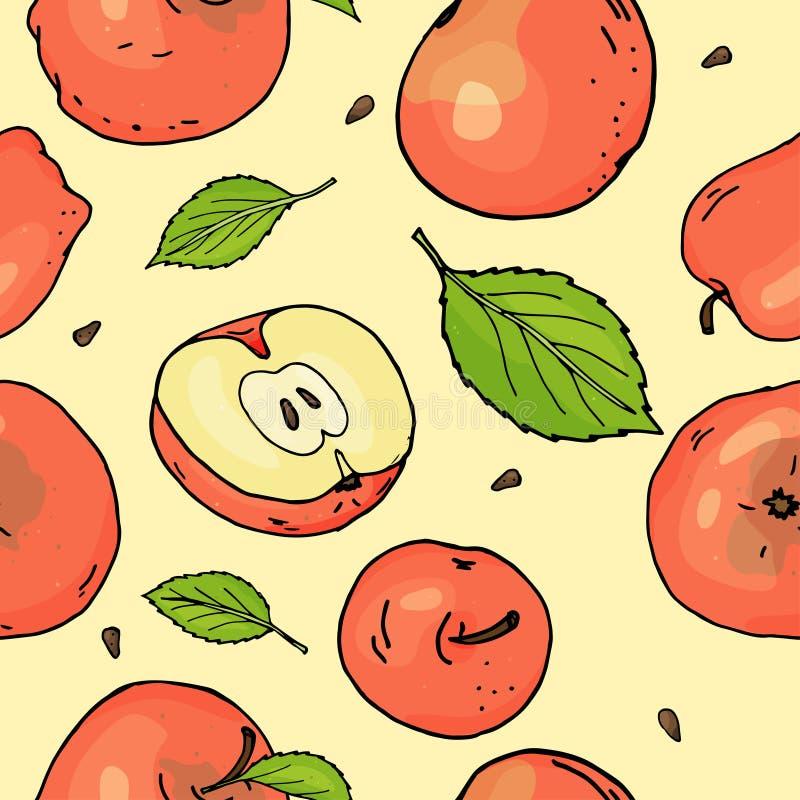 Bezszwowy wzór z czerwonymi jabłkami i liśćmi Jabłka cali i kawałki na żółtym tle pojęcia kolorowego ilustracyjny wakacje złagodz ilustracja wektor