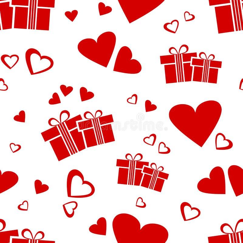Bezszwowy wzór z czerwonymi prezentów pudełkami, sercami dla walentynka dnia i wektorowy illustation royalty ilustracja