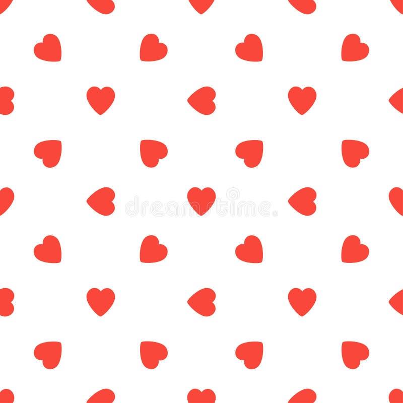 Bezszwowy wzór z czerwonymi sercami na białym tle Walentynka dnia ilustracja fotografia stock