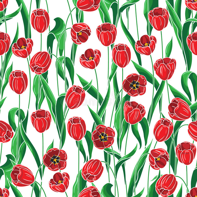 Bezszwowy wzór z czerwonymi tulipanami ilustracja wektor