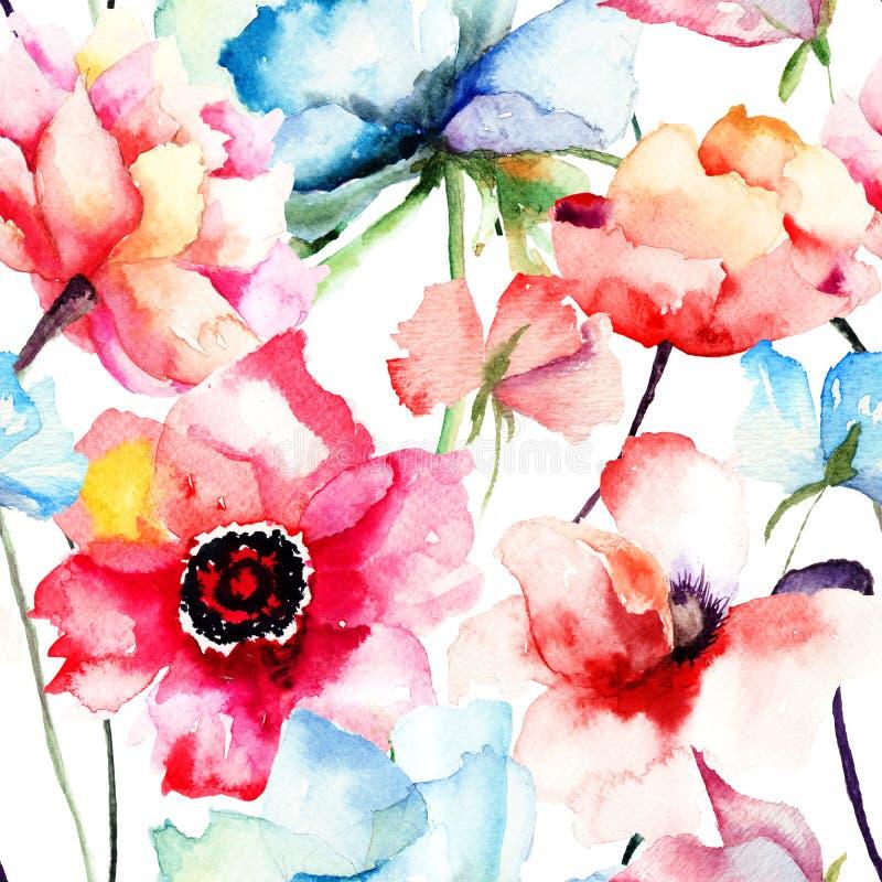 Bezszwowy wzór z Dekoracyjnym błękitnym kwiatem ilustracji