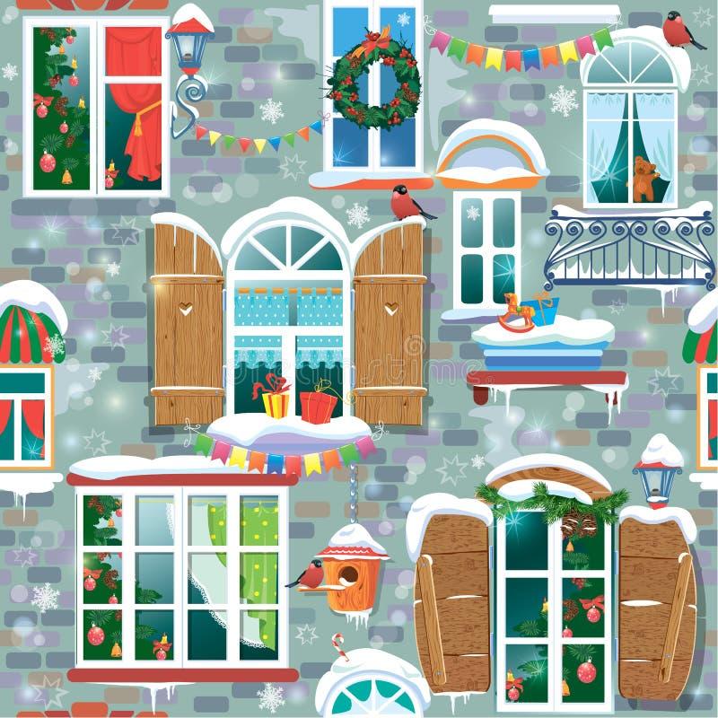 Bezszwowy wzór z dekoracyjnym Windows w zima czasie royalty ilustracja