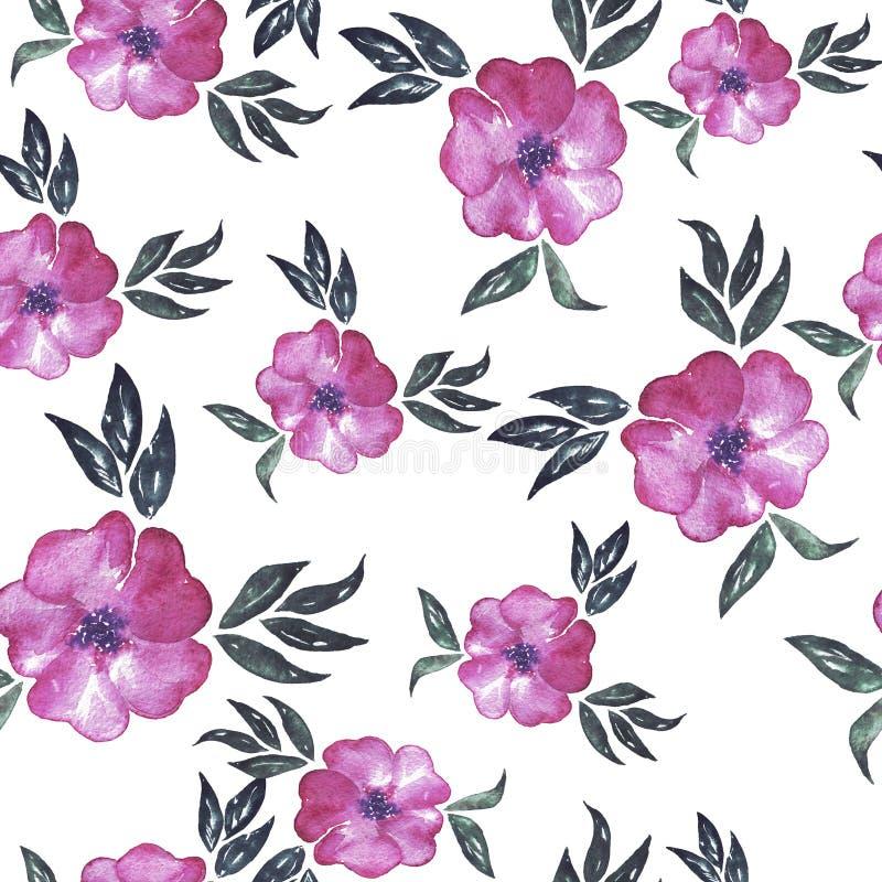 Bezszwowy wzór z dekoracyjnymi abstrakt menchii kwiatami beak dekoracyjnego latającego ilustracyjnego wizerunek swój papierowa ka ilustracja wektor