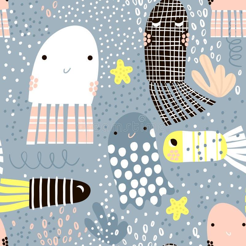 Bezszwowy wzór z dennego zwierzęcia galaretową ryba, ryba Podmorska Dziecięca tekstura dla tkaniny, tkanina Wektorowy tło ilustracji