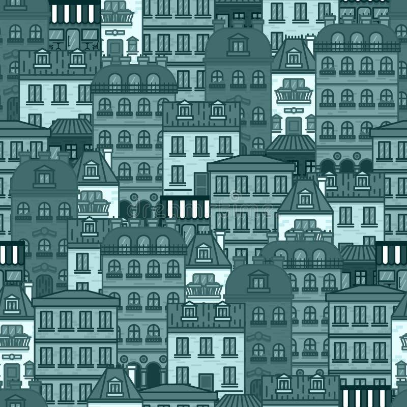 Bezszwowy wzór z domami i budynkami Paryska wektorowa ilustracja ilustracja wektor