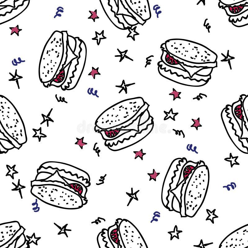 Download Bezszwowy Wzór Z Doodle Hamburgerem Ilustracja Wektor - Ilustracja złożonej z rozrywka, abstrakt: 41954771