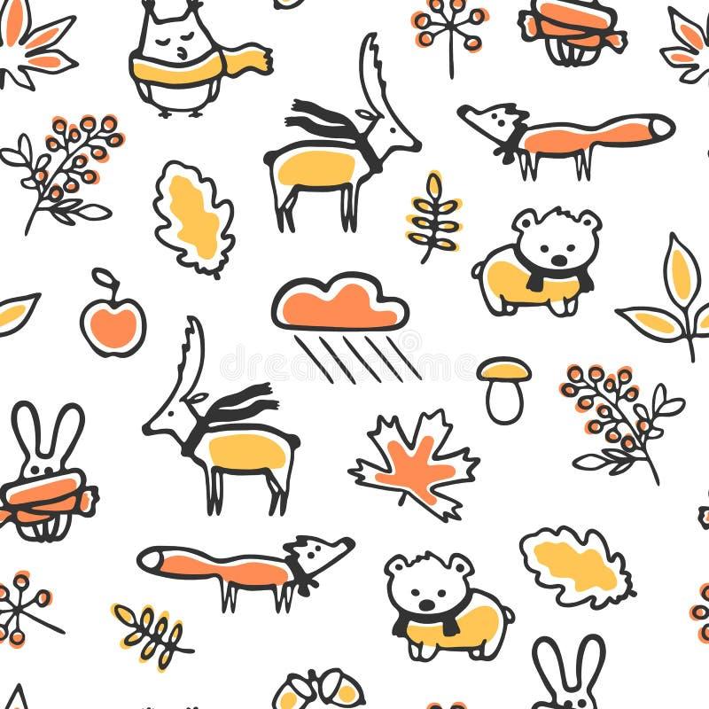 Bezszwowy wzór z doodle jesieni ilustracjami royalty ilustracja