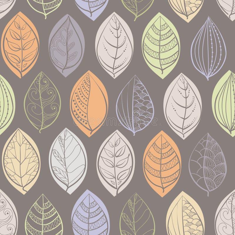 Bezszwowy wzór z doodle liśćmi royalty ilustracja