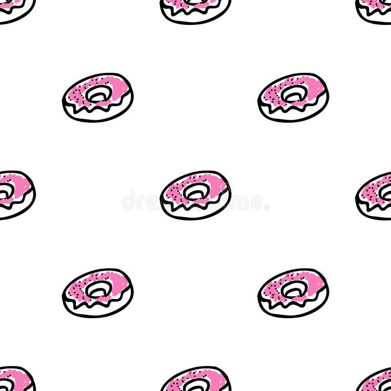 Bezszwowy wzór z doodle pączkami royalty ilustracja