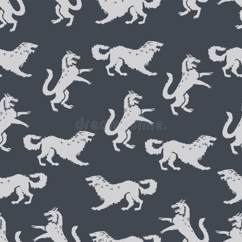 Bezszwowy wzór z drapieżnikami ilustracja wektor