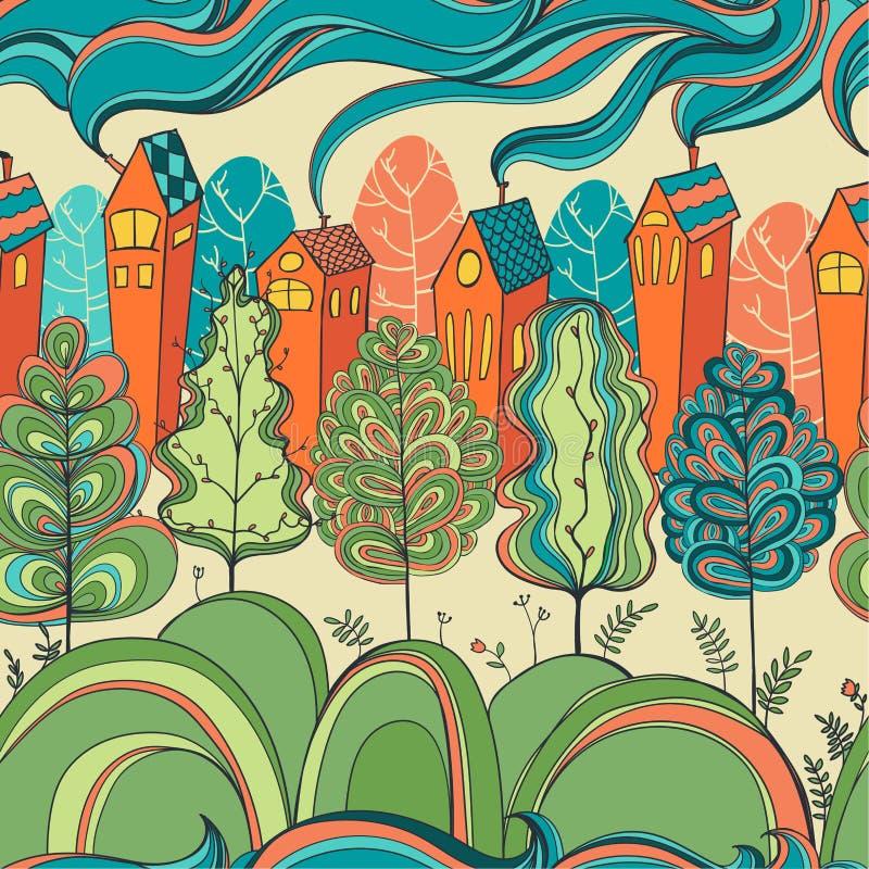 Bezszwowy wzór z drzewami i domami royalty ilustracja